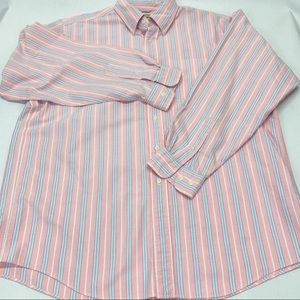 LL Bean Men's Button Down Collard Large Pink/Blue